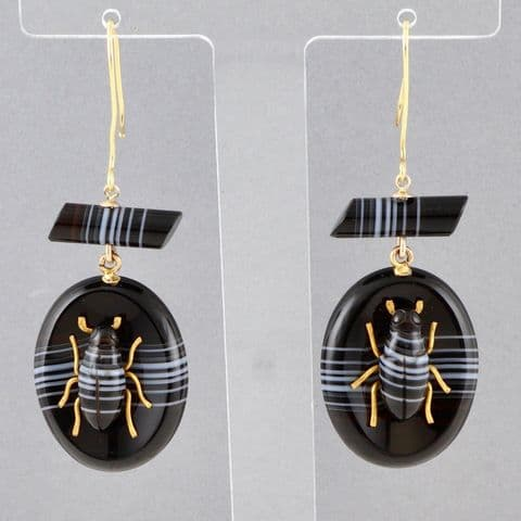 Antique Victorian 18Ct Gold & Banded Agate Bug / Beetle Pendant Earrings